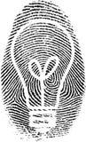 Fingerprint. Light bulb silhouette in fingerprint Stock Images