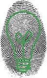 Fingerprint. Light bulb silhouette in fingerprint Stock Photography