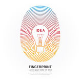 Fingerprint lightbulb color vector design illustration.
