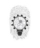 Fingerprint lightbulb vector illustration. Background Royalty Free Stock Photos