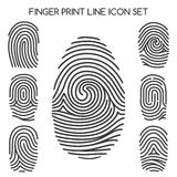 Fingerprint line icons. Fingerprint icons. Finger print line icons or thumbprint signs. Vector illustration Royalty Free Stock Image