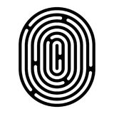 Fingerprint linear icon. Security measure, preventing crime, checking identity, electronic reading concept. Graphic design element for web, mobile app Stock Image