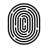Fingerprint linear icon. Security measure, preventing crime, checking identity, electronic reading concept. Graphic design element for web, mobile app Stock Photo