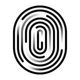 Fingerprint linear icon. Security measure, preventing crime, checking identity, electronic reading concept. Graphic design element for web, mobile app Royalty Free Stock Photo