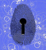 Fingerprint lock atomic particles. Fingerprint lock and atomic particles Stock Image