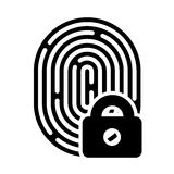 Fingerprint with lock linear icon Stock Image
