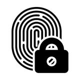 Fingerprint with lock linear icon Royalty Free Stock Image