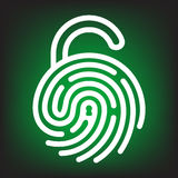 Fingerprint with lock shape. Fingerprint with open lock shape. Security concept icon. Unlock with finger print Stock Images