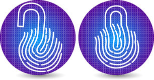 Fingerprint lock and unlock icon Stock Images