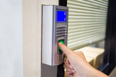 Fingerprint machine in a office building Royalty Free Stock Images