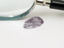 Fingerprint and magnifier Stock Image