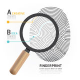 Fingerprint with magnifier vector illustration. Stock Images