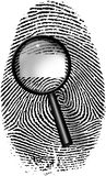 Fingerprint and magnify glass. With blamk rectangle Stock Photo