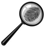 Fingerprint . magnifying glass.evidence of crime. Royalty Free Stock Photo