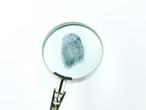 Fingerprint through magnifying glass Royalty Free Stock Photo