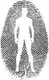 Fingerprint. Man`s silhouette in fingerprint on white Royalty Free Stock Images