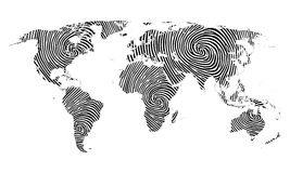 Fingerprint map of the world. On the white background Royalty Free Stock Photo