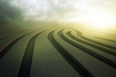 Fingerprint maze. Abstract concrete fingerprint maze on cloudy sky background. Challenge concept. 3D Rendering Stock Images