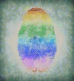 Fingerprint. Modern art. Fingerprint in colors of rainbow Royalty Free Stock Photography