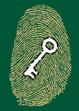 Fingerprint and security key. Fingerprint in motherboard style and security key Royalty Free Stock Image