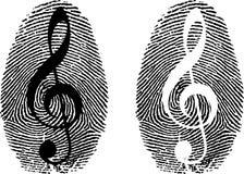 Fingerprint with music symbol. Thumbprint Royalty Free Stock Photo