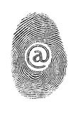 Fingerprint net. Fingerprint combined with @ and associated internet security and web crime Royalty Free Stock Image