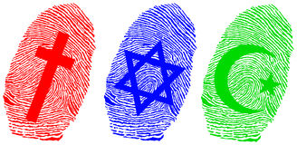 Fingerprint and offical relligion Stock Photos