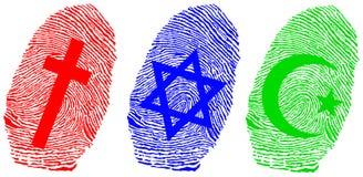 Fingerprint and offical relligion. Official religion and fingerprint illustration Stock Photos