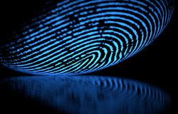 Fingerprint Over Black. 3D illustration. 3D holographic fingerprint on black background Royalty Free Stock Photography