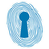 Fingerprint over a lock keyhole. Vector illustration of a human thumbprint or fingerprint superimposed over a keyhole lock conceptual of safety, security and Stock Photos