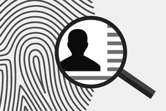 Fingerprint and personal information. Fingerprint and magnifying glass above, with personal information inside. Fingerprint as source of information about person Stock Photos