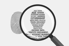 Fingerprint and personal information Royalty Free Stock Images