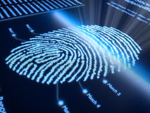 Fingerprint on pixellated screen. Fingerprint scanning technology on pixellated screen - 3d rendered with slight DOF Royalty Free Stock Photography