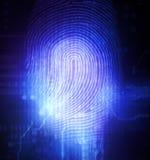 Fingerprint. Print of finger on digital background Royalty Free Stock Photo