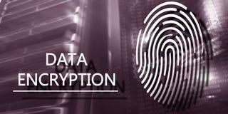 Fingerprint Protection concept: Data Encryption on digital supercomputer background.  royalty free stock photo