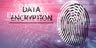 Fingerprint Protection concept: Data Encryption on digital supercomputer background. Server room stock photography