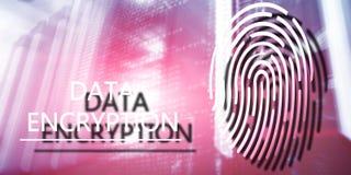 Fingerprint Protection concept: Data Encryption on digital supercomputer background. Server room royalty free stock photography