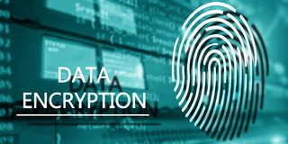 Fingerprint Protection concept: Data Encryption on digital supercomputer background. Server room stock images