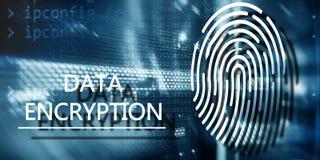Fingerprint Protection concept: Data Encryption on digital supercomputer background royalty free stock photos