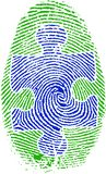 Fingerprint with Puzzle. 3D rendering Royalty Free Stock Photo