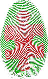 Fingerprint with Puzzle. Piece in Red Royalty Free Stock Photography