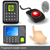 Fingerprint reader icons. Collection of different fingerprint reader icons along with pointing hand Stock Photos