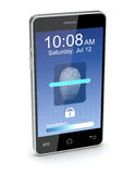 Fingerprint reader on a smartphone. One smartphone that scans a fingerprint (3d render Stock Photos