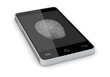 Fingerprint reader on a smartphone. One smartphone with a fingerprint on the screen, concept of privacy and safety (3d render Royalty Free Stock Image