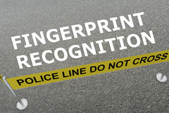 Fingerprint Recognition concept. 3D illustration of `FINGERPRINT RECOGNITION` title on the ground in a police arena Royalty Free Stock Image