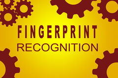 Fingerprint Recognition concept. FINGERPRINT RECOGNITION sign concept illustration with red gear wheel figures on yellow background Royalty Free Stock Photography