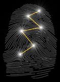 Fingerprint Recognition. Illustration of a fingerprint with connections Royalty Free Stock Photo