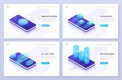 Fingerprint recognition, mobile app development, live chat service, digital information technologies isometric concepts. Vector illustration vector illustration