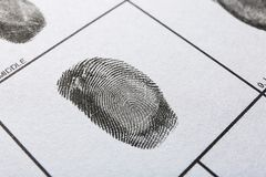 Fingerprint record sheet, closeup view stock images