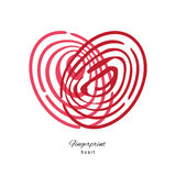Fingerprint Red Heart  On White Background. Creative Fingerprint Red Heart Icon  On White Background Royalty Free Stock Images